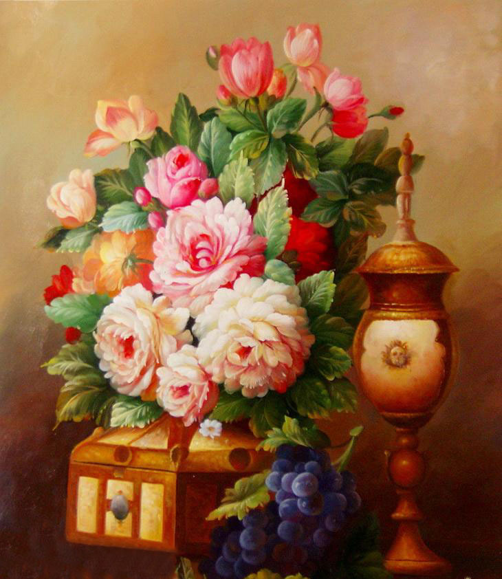 colorful flower vase paintings