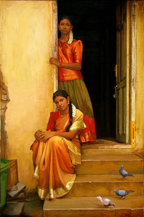 beautiful girls indian paintings -  11