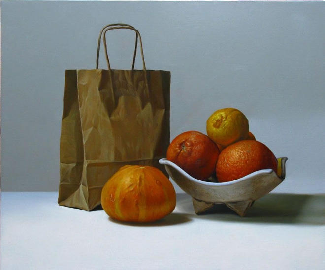 orange bag still life painting