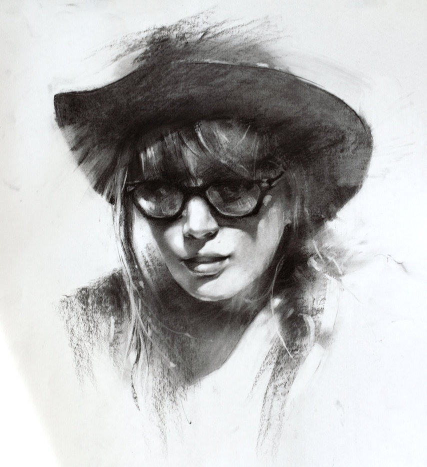14 girl charcoal drawings