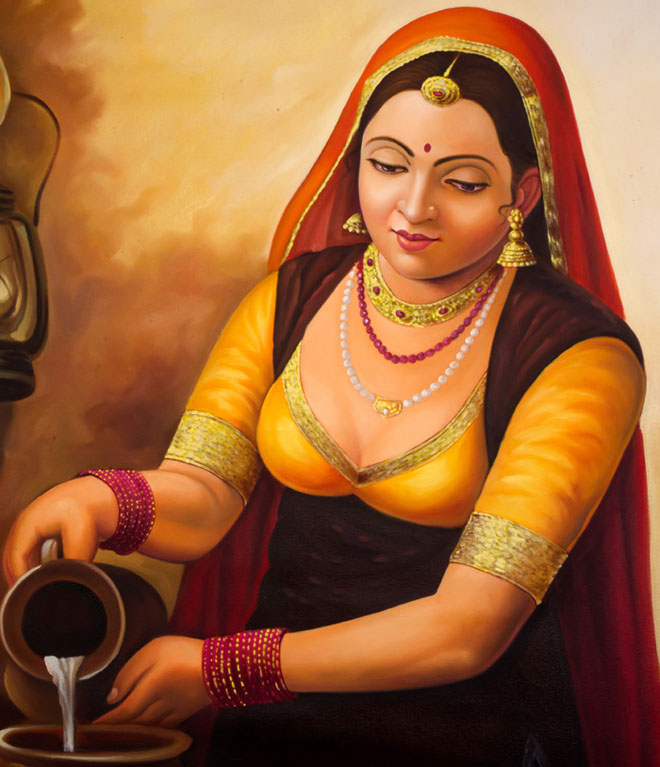 milk woman indian paintings -  14