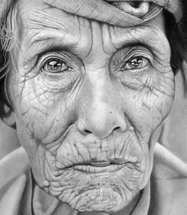 old lady pencil drawings