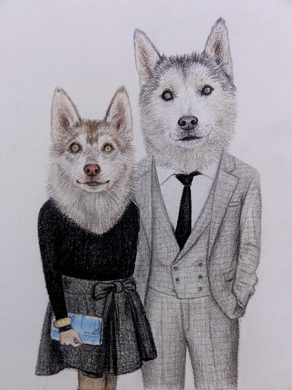 dog pair funny drawings -  16