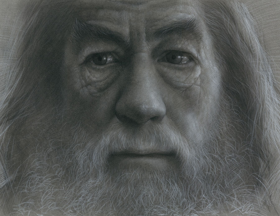 gandalf charcoal drawings by jw jeong -  16