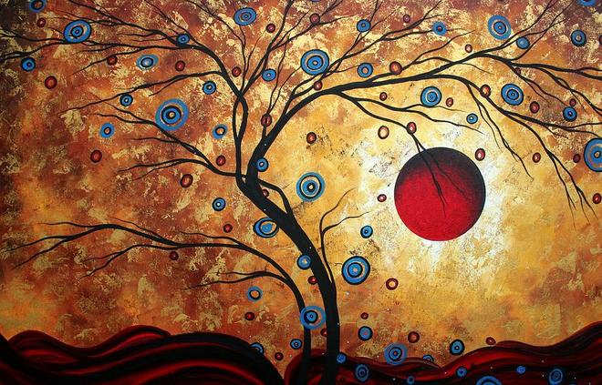 gold tree painting by madart megan