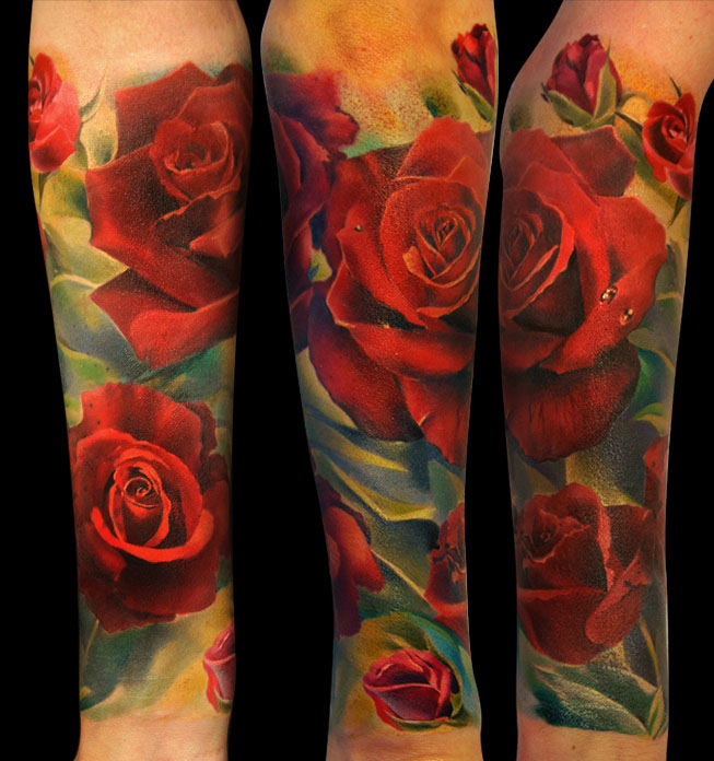 17 red roses tattoos women grimmy
