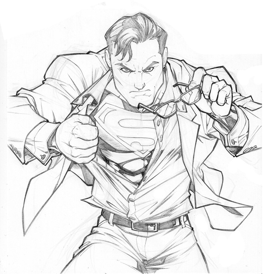 superman cartoon drawings