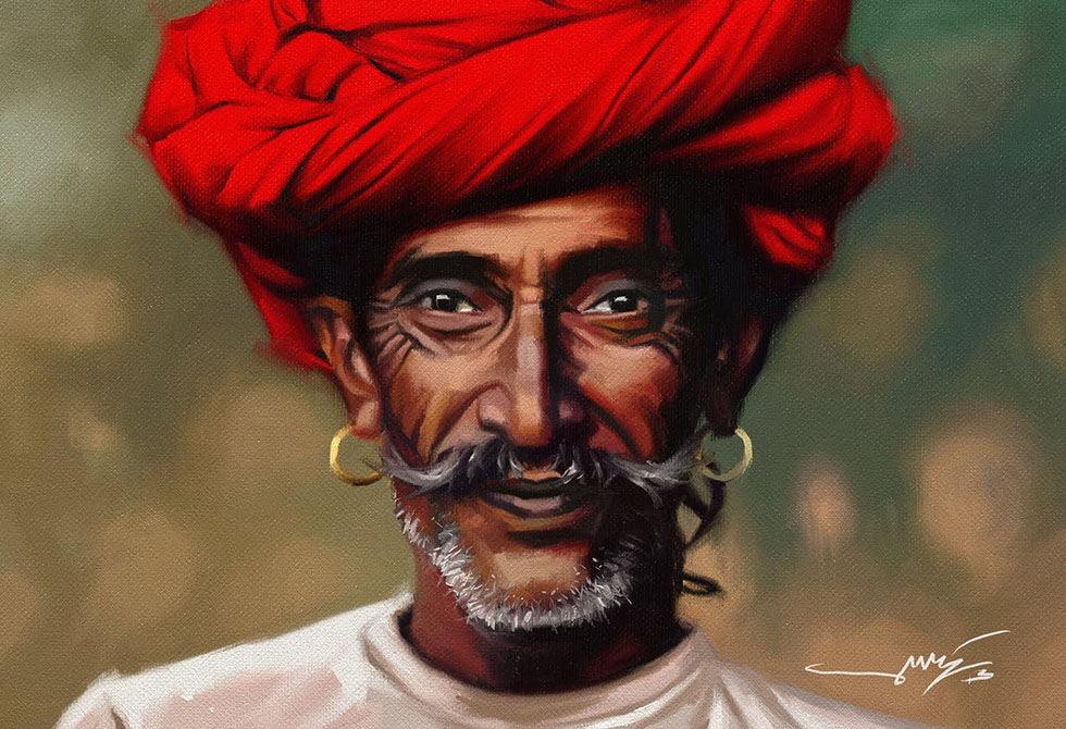 traditional man indian paintings