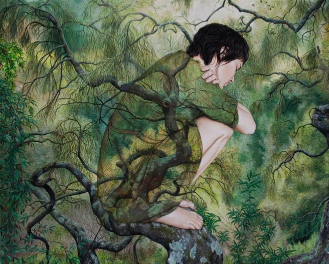 boy surreal paintings by moki -  2