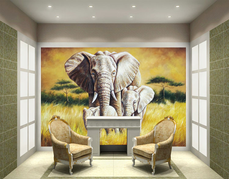 2 elephant wall mural art image for 3d mural painting tutorial