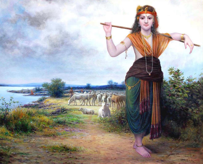 indian painting krishna -  2
