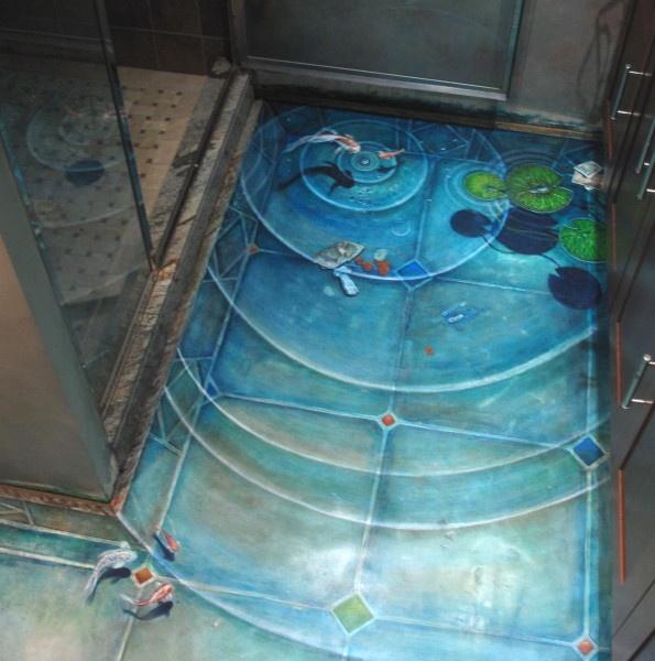 bathroom floor mural painting