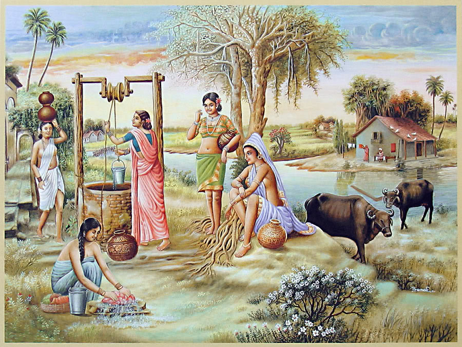 20 village well indian paintings