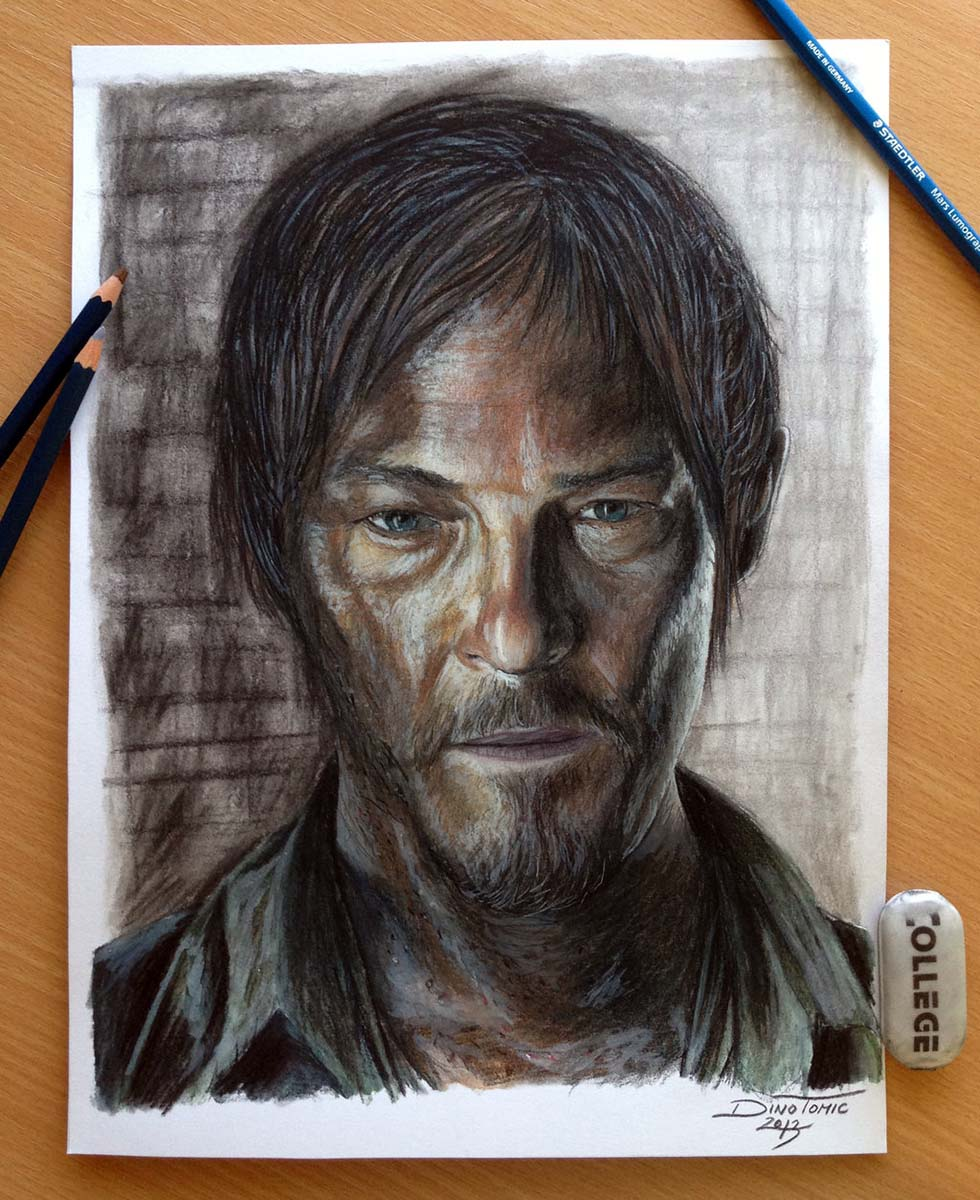 daryl dixon color pencil drawings