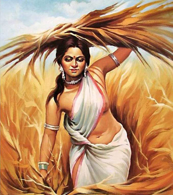 village woman indian paintings -  21