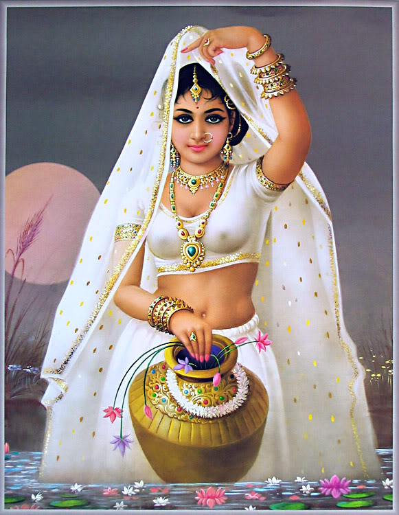 water woman indian paintings -  22