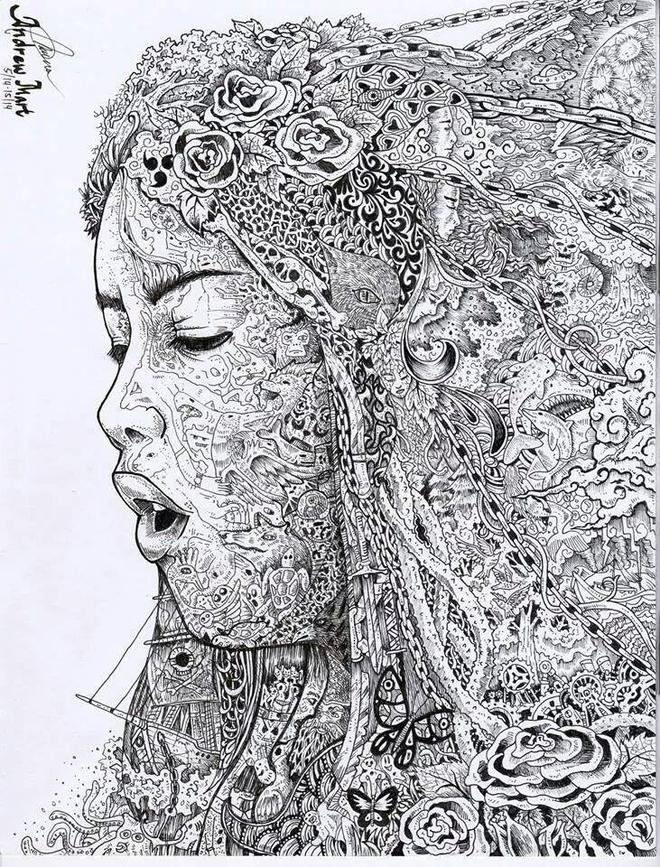 woman doodle art by andrew castillo -  25