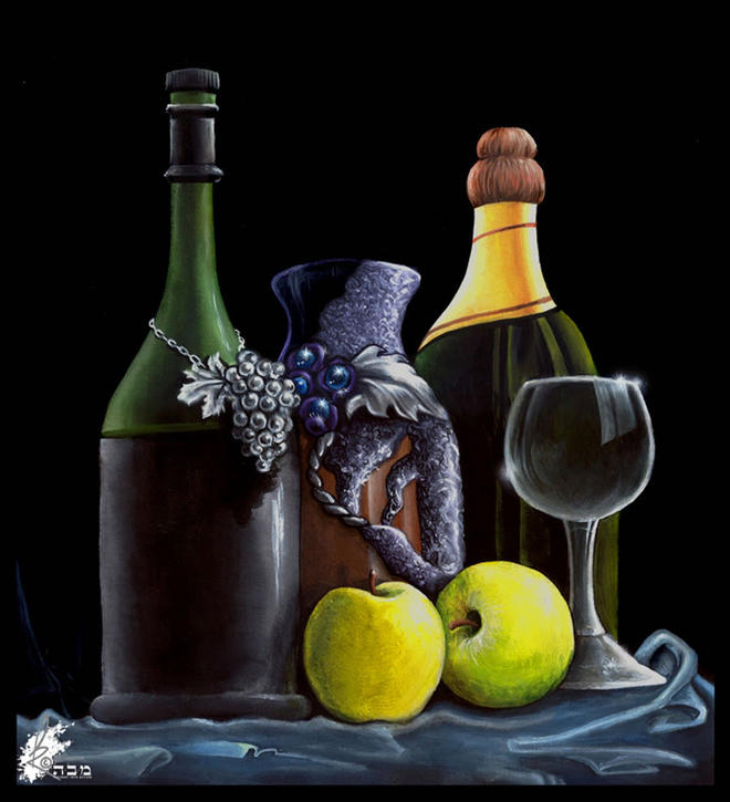 wine still life painting -  27