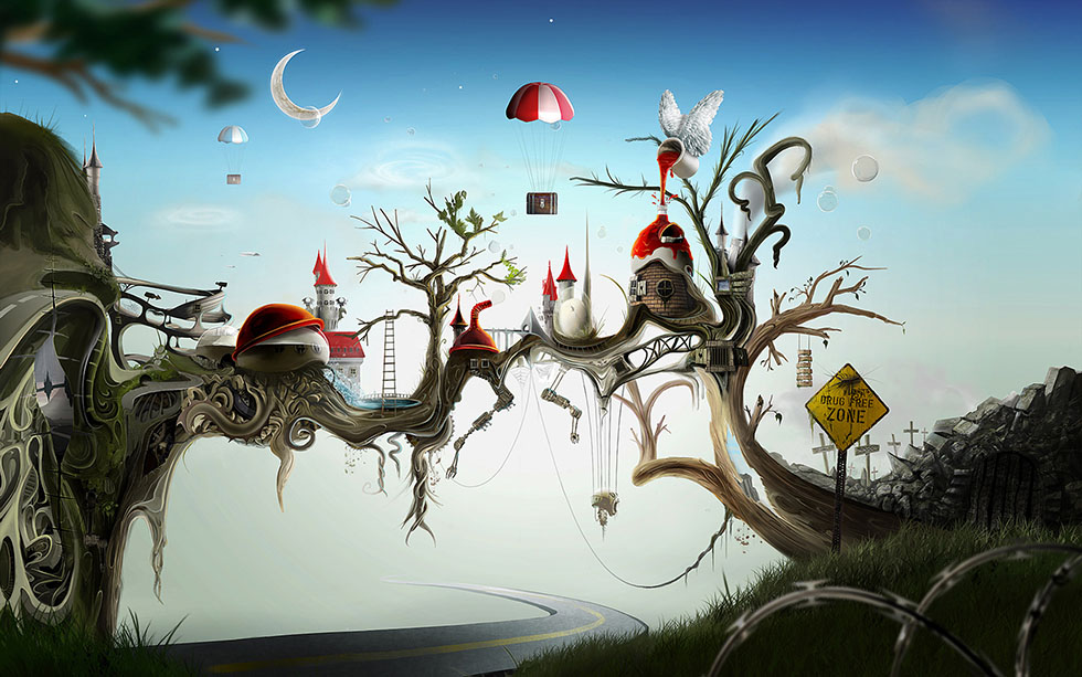 wonderland surreal painting