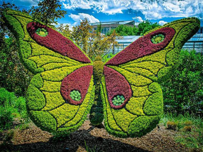 3 butterfly garden sculptures