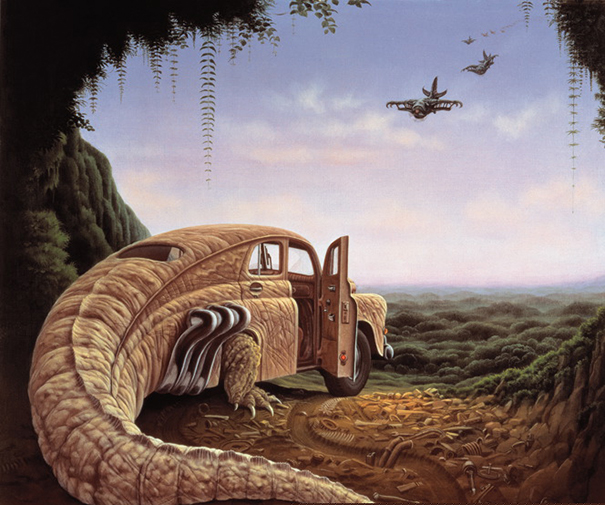 car surreal painting by jacek yerka -  3