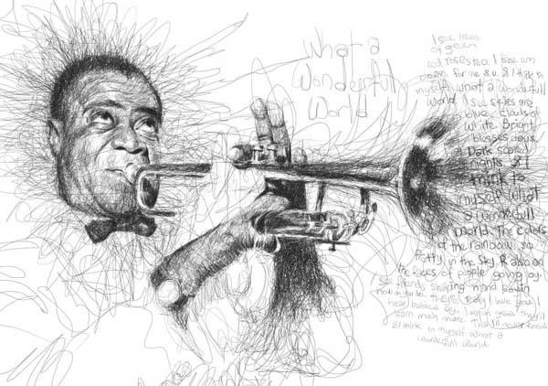 man scribbles