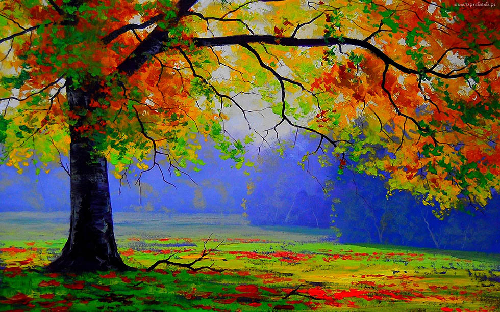 4 beautiful tree paintings image - Leaves paintings and drawings ...