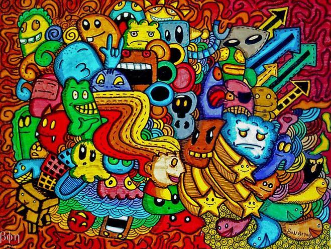 5 colorful doodles | Image