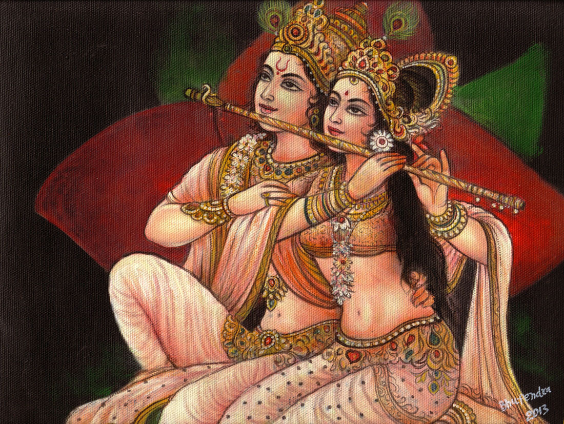 indian painting radha krishna by bhupendra -  5