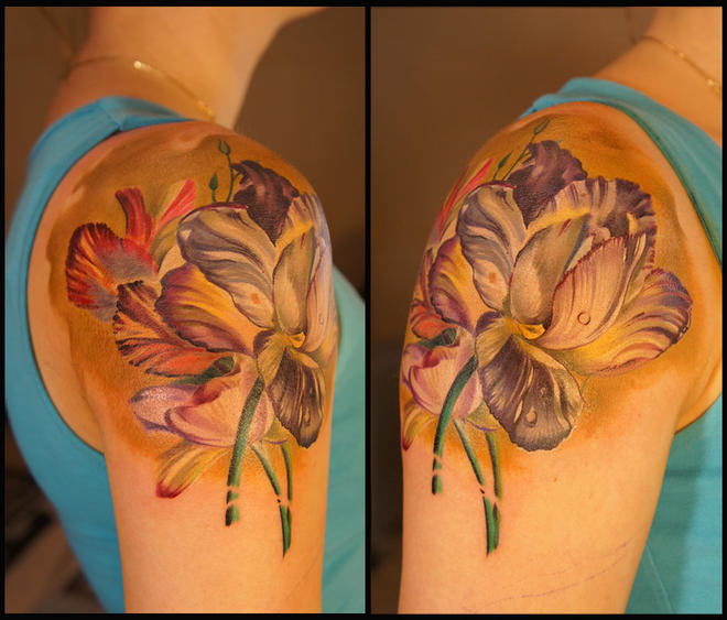 color flowers tattoos women grimmy -  6