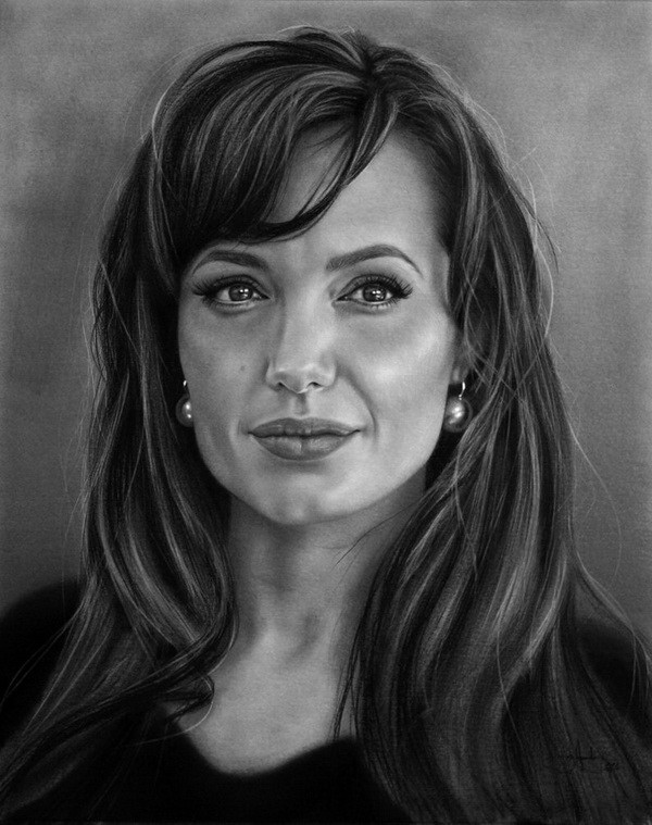 angelina jolie portrait drawing -  7