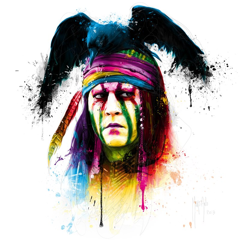 crow man colorful paintings by patrice murciano