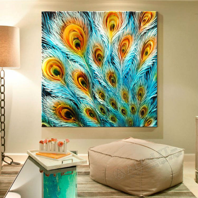 peacock wall art painting -  7