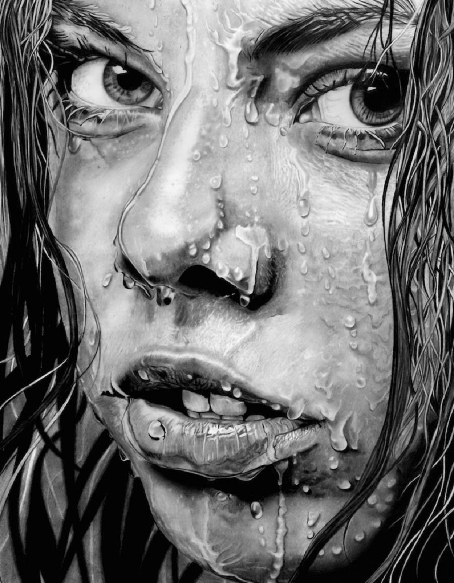 wet girl face drawings