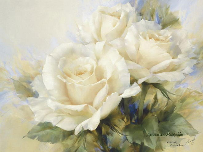 8 beautiful white flower painting image