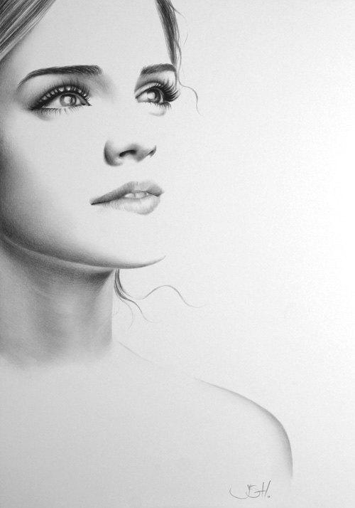 emma watson potrait drawings