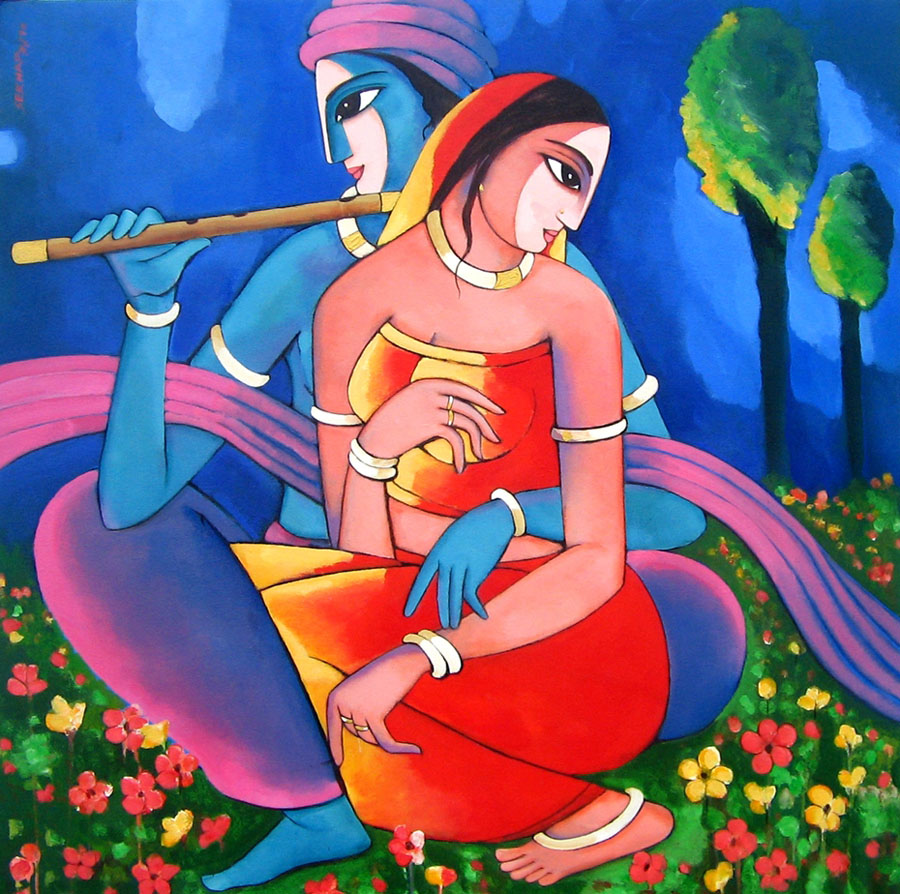 indian painting radha krishna by sekharroy