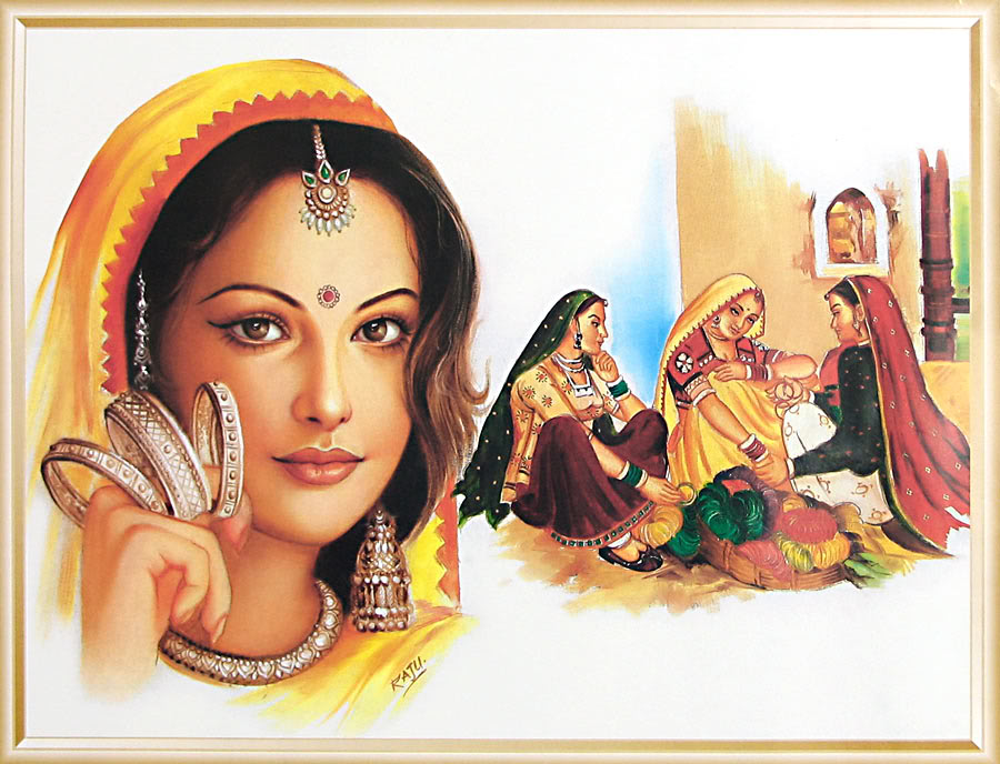 bangle seller indian paintings -  9
