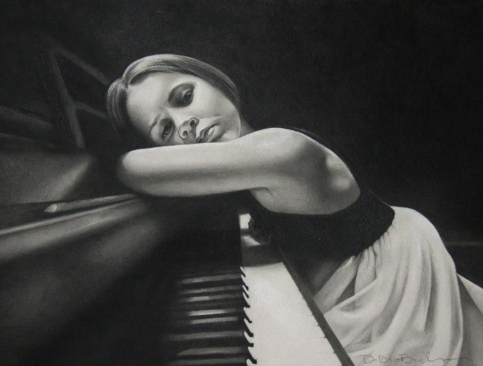 girl charcoal drawings by debra
