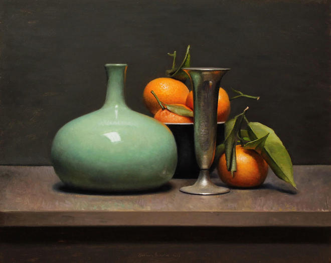 green vase still life painting -  9