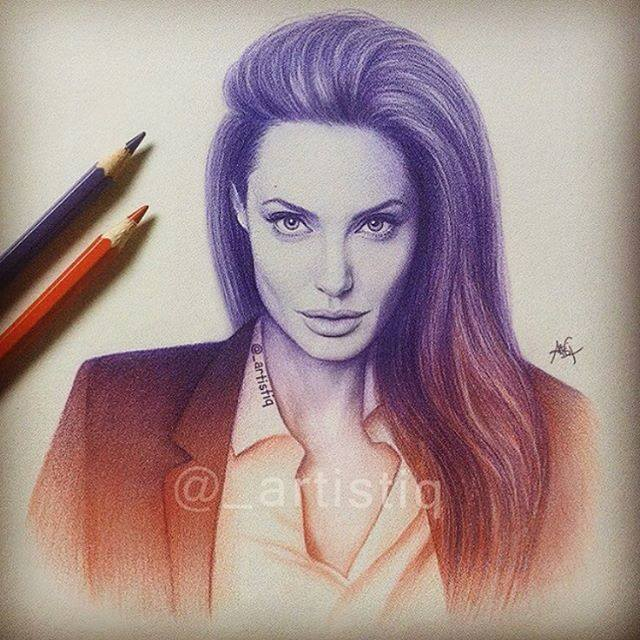 angelina jolie color pencil drawing