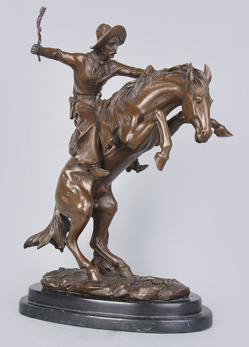 cow boy bronze sculptures