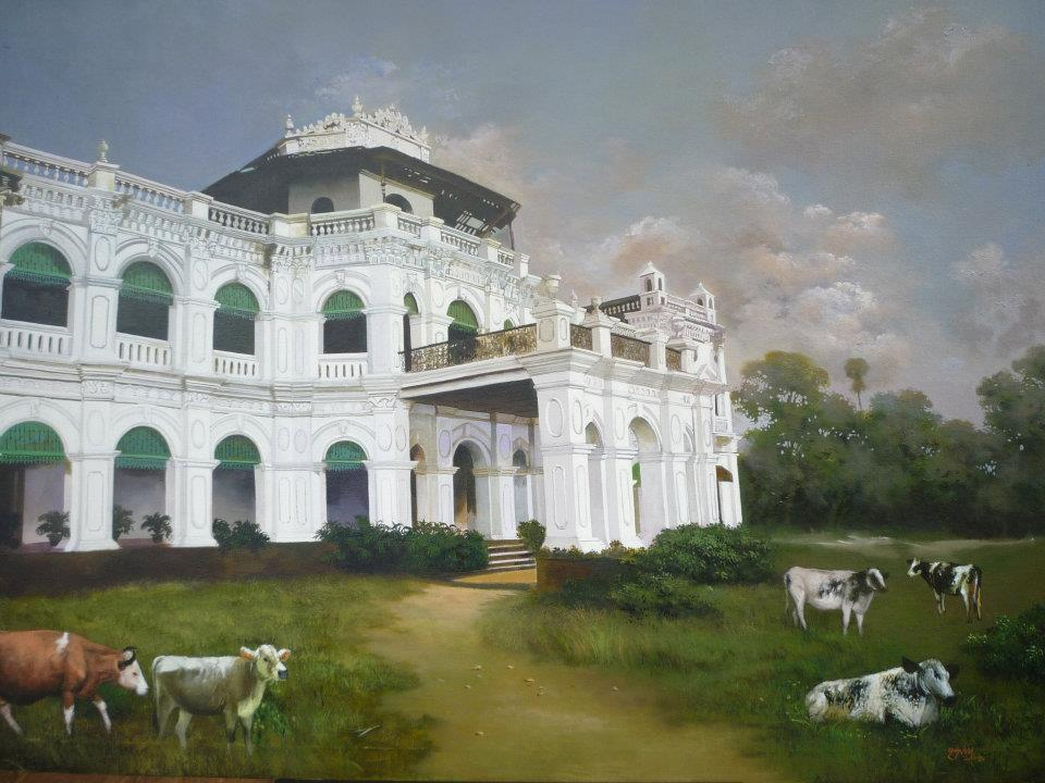 indian house acrylic painting by raghunath sahoo