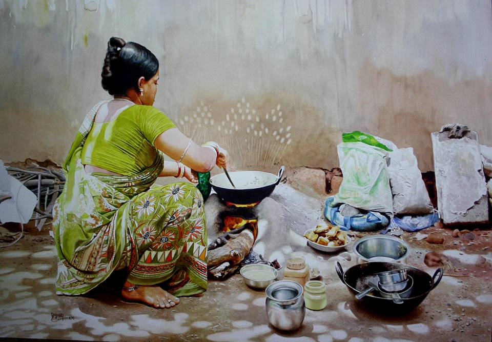 indian woman acrylic painting by raghunath sahoo