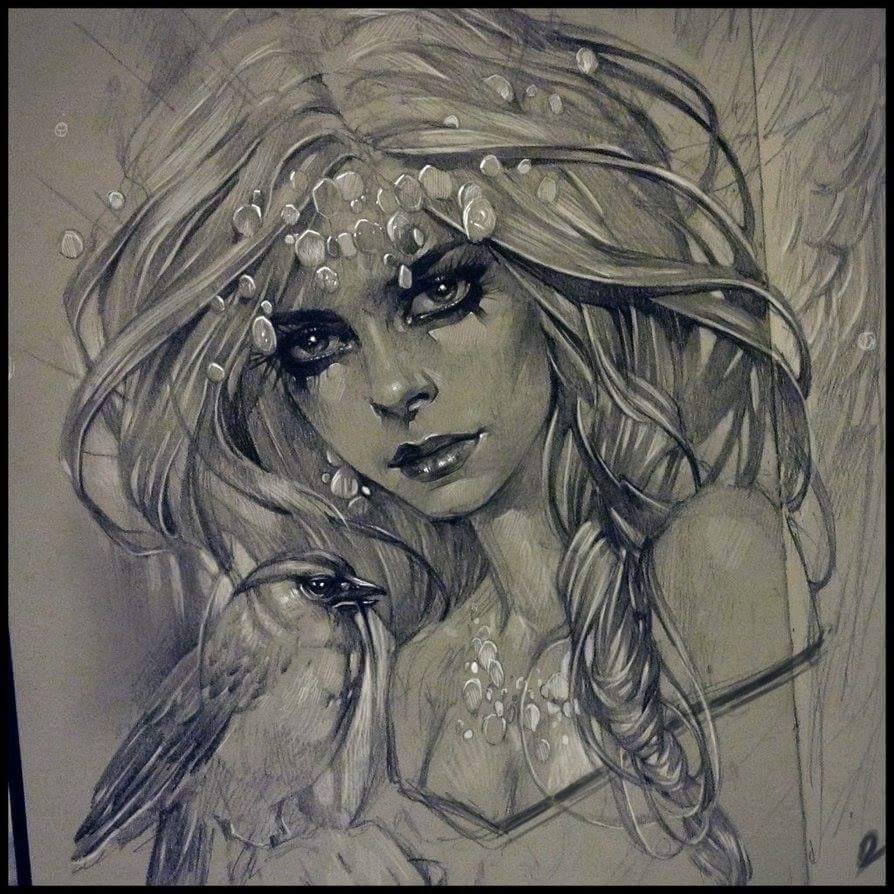 woman pencil drawing by alex sorsa