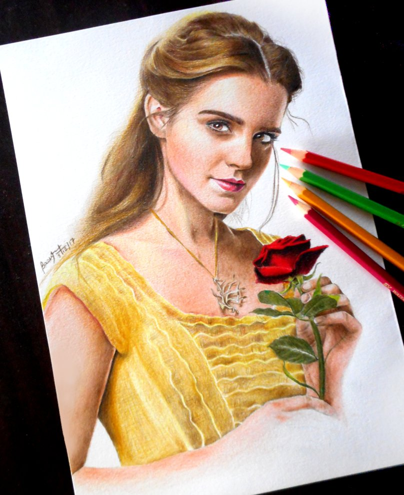 emma watson colour pencil drawing