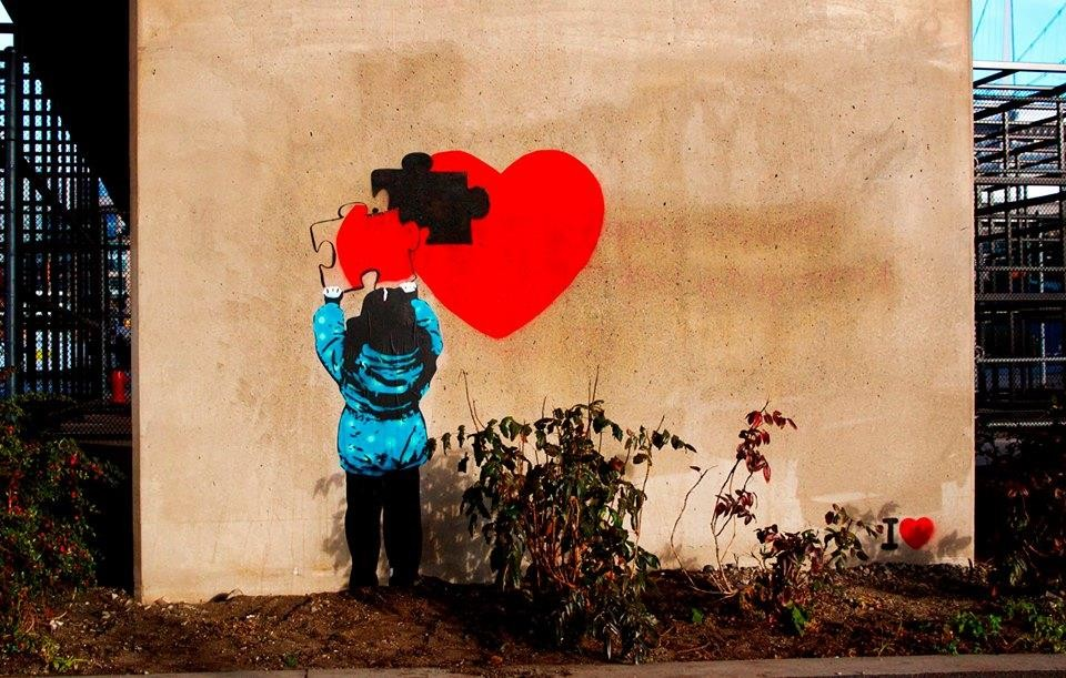 1 missing piece heart creative street art work