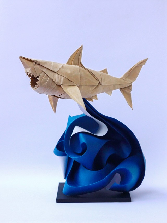 shark paper sculptures art by nguyen gung cuong