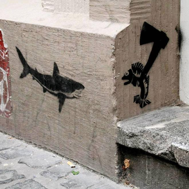 14 fish creative street art work