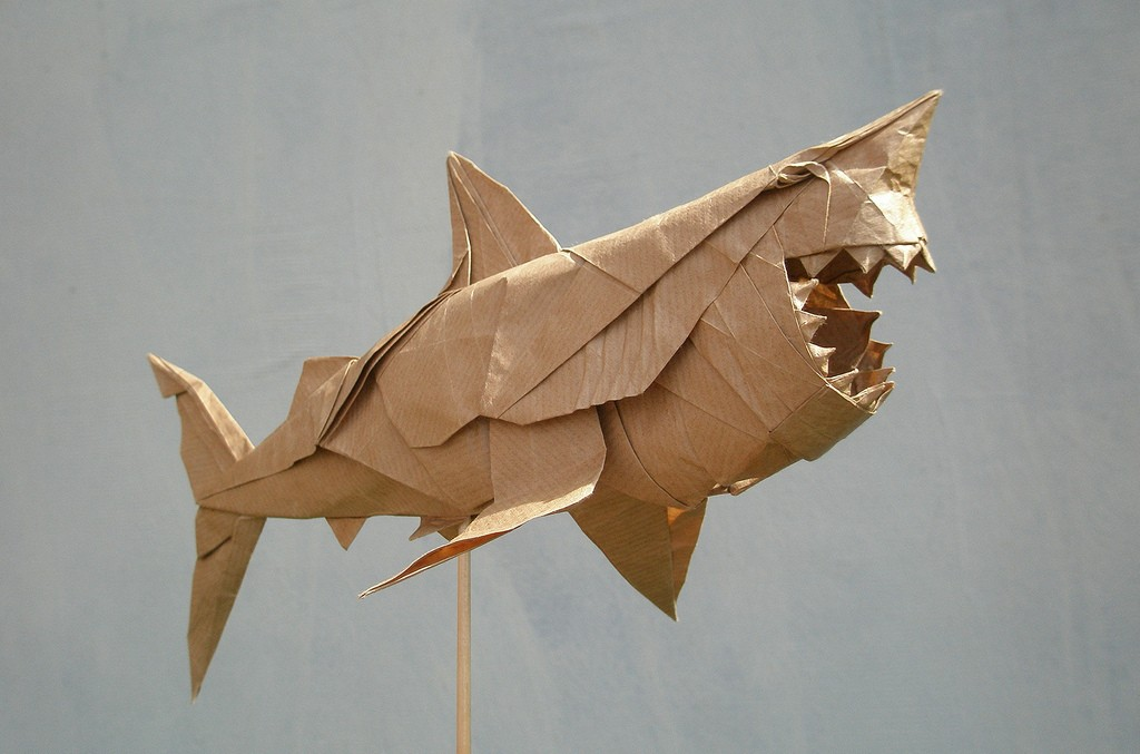 great white shark paper sculptures art